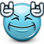 rock, rocking, smiley, devil horns, music, Emoticon, smiley face, Dance, you rock SkyBlue icon