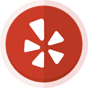 social media, Yelp, location, yelp logo Firebrick icon