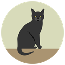 Black cat, Angry, halloween LightGray icon