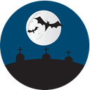 halloween, Grave yard, graves MidnightBlue icon