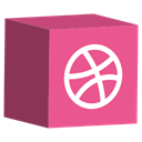 dribbble, cube, media, Social, set Icon