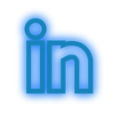 set, Social, neon, media, Linkedin DodgerBlue icon