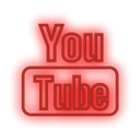 neon, youtube, set, media, Social Red icon