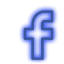 media, set, Social, Facebook, neon Blue icon