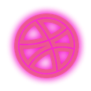 neon, set, dribbble, Social, media PaleVioletRed icon