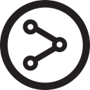 round, linecon, share, distribute Black icon