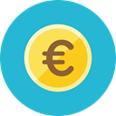coin, Euro LightSeaGreen icon