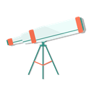 view, Astronomy, telescope, zoom Black icon