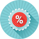 Promotion, %, Badge, Price, Discount SkyBlue icon