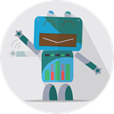 Android, robot, fun robot, metal, space, robotic, mechanical, robot expression, technology, Mascot Lavender icon