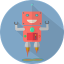 robotic, Android, mechanical, robot chargers, Mascot, space, technology, robot expression, metal, robot, fun robot, Launch CadetBlue icon