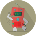 robotic, robot expression, Android, mechanical, metal, space, Mascot, robot, fun robot, technology RosyBrown icon