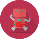 mechanical, Android, Mascot, fun robot, metal, robot, technology, robotic, robot expression, space Brown icon