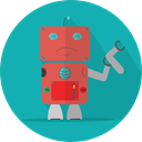 Android, metal, Mascot, technology, robot, turn off, mechanical, space, Broken, robotic, robot expression LightSeaGreen icon