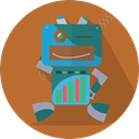 space, fun robot, technology, mechanical, Mascot, robotic, Android, robot expression, metal, robot Chocolate icon