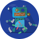 Broken, Android, Mascot, metal, turn off, robot expression, robot, space, robotic, mechanical, technology DarkSlateBlue icon