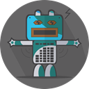 robotic, mechanical, Android, metal, Mascot, technology, robot expression, robot, space, turn off DimGray icon