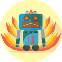 Angry, metal, robot, robotic, mechanical, robot expression, space, Android, Mascot, technology Moccasin icon