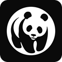 World wild fund, wwf Black icon