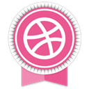 Social, dribbble, Ribbon PaleVioletRed icon