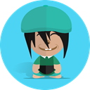 Boy, Cartoon, Character, cheerful, school, smile, Child Turquoise icon