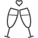 Alcohol, toast, valenticons, valentines, glass, champagne, wine, valentine Black icon