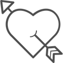 valentines, love, valenticons, Cupid, Heart, valentine Black icon