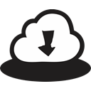 Down, Arrows, Direction, download, handrawn, Cloud Black icon