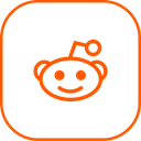 Reddit, line Black icon