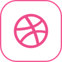 dribbble, line Black icon