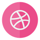 dribbble, media, Social, Circle PaleVioletRed icon