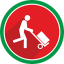 transportation, fire, transport, trolley Crimson icon