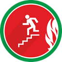 fire, Left, Down, Stairs, Flame, Direction Crimson icon