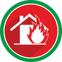 emergency, fire, house, Flame Crimson icon