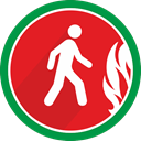 walking, danger, fire, person Crimson icon