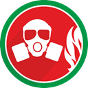 Burn, protect, gasmask, fire Crimson icon