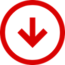 Trend, Down, Negative, Direction, Arrow Red icon