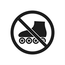 roller skates, prohibition, impossible, prohibition sign, prohibiting sign, warning, interdiction Black icon