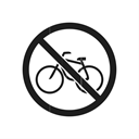 Bicycle, interdiction, prevention, prohibition sign, prohibiting sign, warning, prohibition Black icon