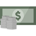 Cash, Finance, Dollar, Currency, Money DarkGray icon