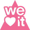 Weheartit, triangle, media, Social PaleVioletRed icon