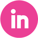 Linkedin, pink, round, Social, media Icon