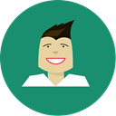 Man, green, happy, minmal, lips, Boy SeaGreen icon