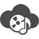 cd rom, music, music note, Cloud computing, entertainment, mp3, Cloud DarkSlateGray icon