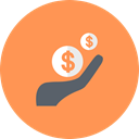 income, investment, Cash, Hand, Coins, Money, revenue SandyBrown icon