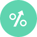 interest, percentage, Arrow, sign, arrow up MediumAquamarine icon