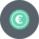 coin, Euro, Money, Currency, Cash DimGray icon