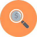 investment, funding, Explore, coin, Dollar, Magnifier, Currency SandyBrown icon
