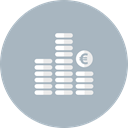 Bank, Cash, Euro, Finance, Coins, Business, Money Silver icon