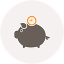 Saving, time, piggy bank, Money, pig, Clock WhiteSmoke icon